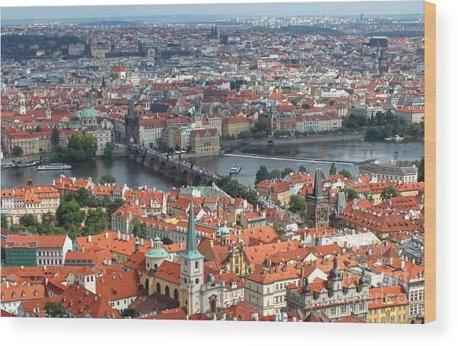 Wood Print featuring the photograph Prague - View From Castle Tower - 05 by Gregory Dyer