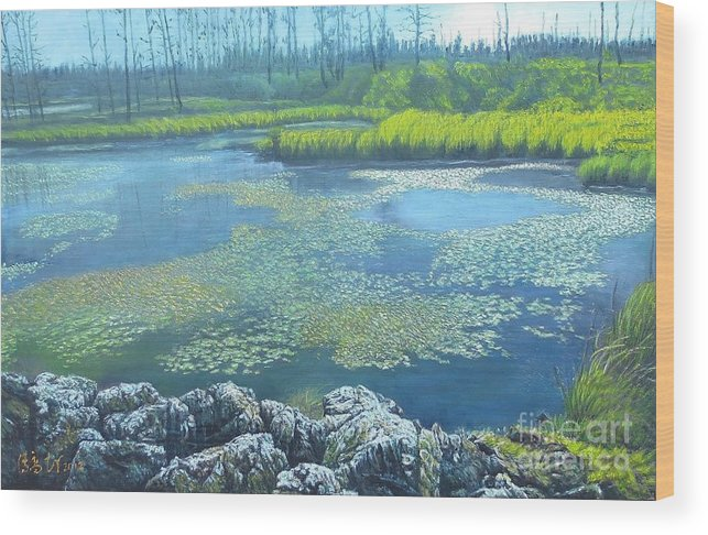 Wood Print featuring the painting Summer Pond by Tierong Fu