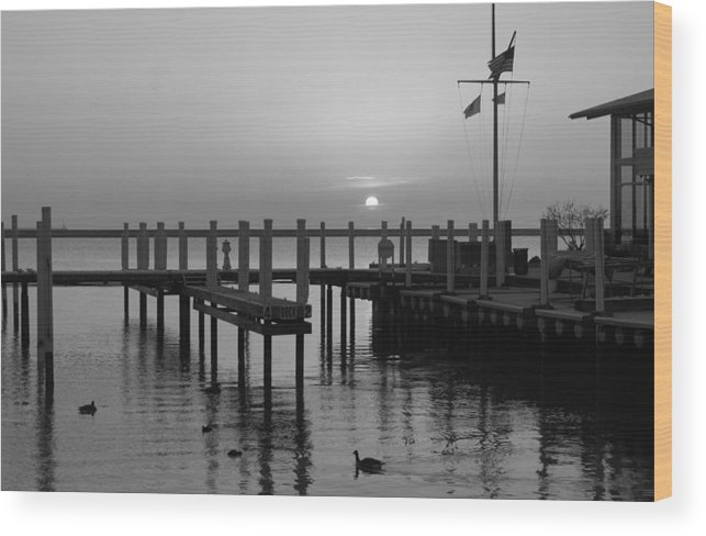 Water Wood Print featuring the photograph Sunrise At The Harbor by Gregory Lafferty