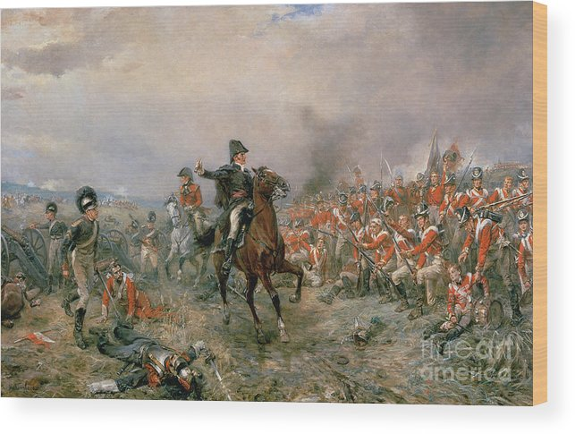 The Wood Print featuring the painting The Duke Of Wellington At Waterloo by Robert Alexander Hillingford