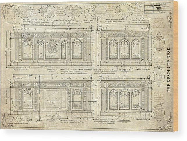 The Resolute Desk Wood Print featuring the drawing The Resolute Desk Blueprints / Ivory Scroll by Kenneth Perez