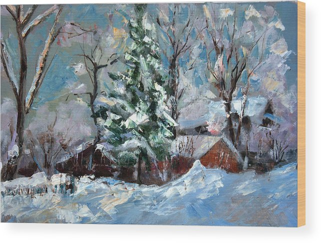 Oil Painting Wood Print featuring the painting The Winter by Leonid Kirnus