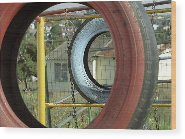Tire Orphans South Africa Kwa-zulu Natal Aids Playground Wood Print featuring the photograph Tires In An Orphanage by Susie Rieple