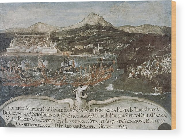 Horizontal Wood Print featuring the photograph Turkish-venetian Wars. War Of Candia Or by Everett