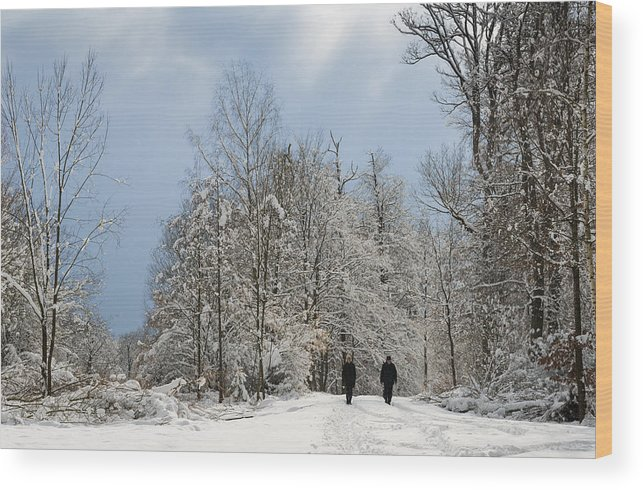 Winter Wood Print featuring the photograph Two People Doing A Walk In Beautiful Forest In Winter by Matthias Hauser
