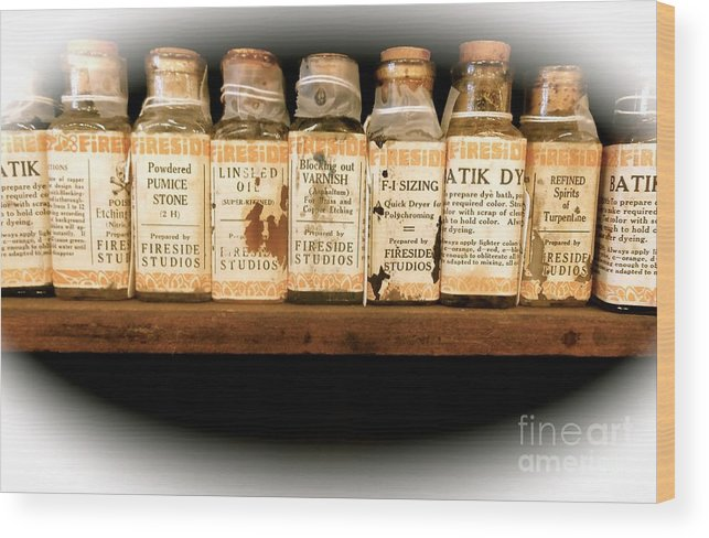 Vintage Wood Print featuring the photograph Vintage Dye Bottles by Saundra Myles