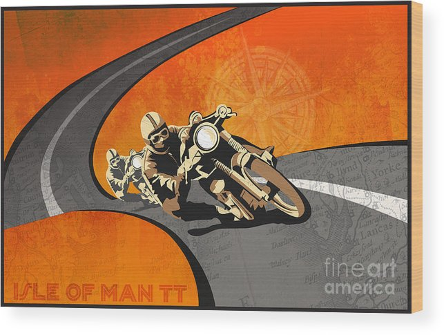 Vintage Motor Racing Wood Print featuring the painting Vintage Motor Racing by Sassan Filsoof