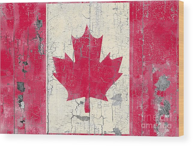 Weather Worn Canadian Flag Wood Print By Sharon Marcella Marston