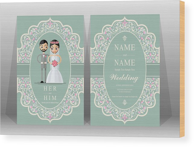 Wedding Invitation Card Templates With Indian Man And Women Traditional Costumes Wedding On Paper Color Background Wood Print
