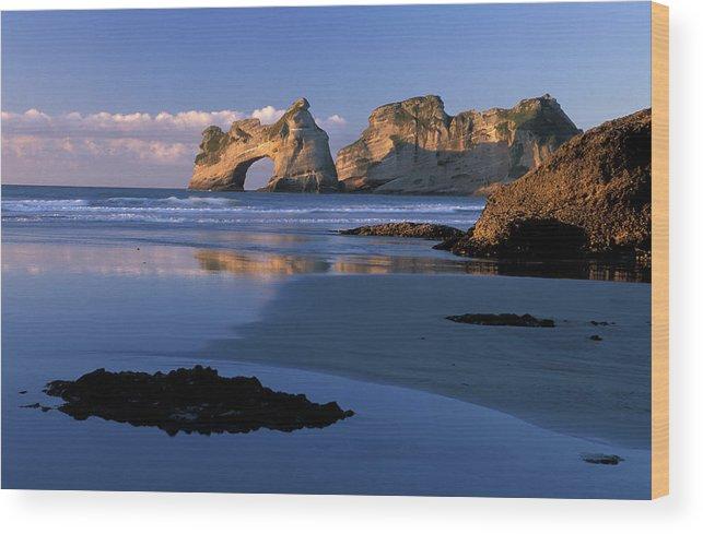 Arch Wood Print featuring the photograph Wharariki Beach Near Farewell Spit by Christian Heeb