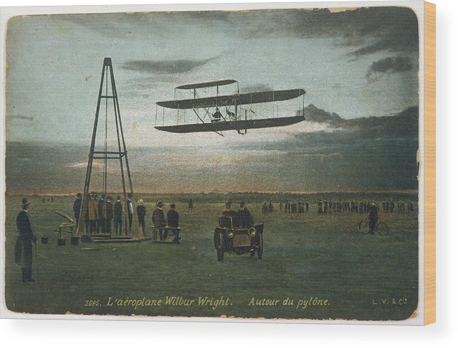Wright Wood Print featuring the photograph Wilbur Wright Rounds A Pylon by Mary Evans Picture Library