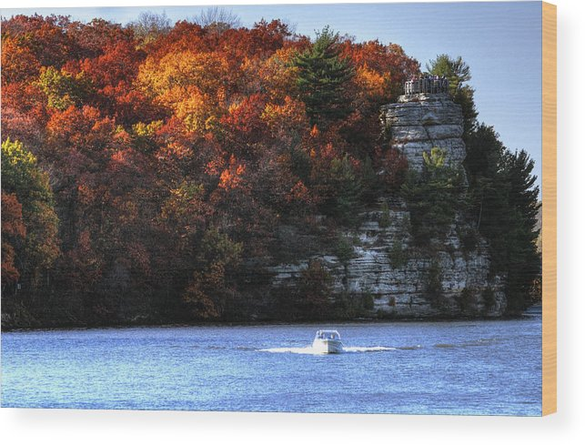 Landscape Wood Print featuring the photograph Fall Boating At Starved Rock by Coby Cooper