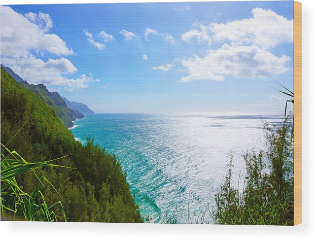 Na Pali Coastline Kauai Hawaii From The Kalalau Trail. Wood Print featuring the photograph Na Pali Coastline by Kevin Smith
