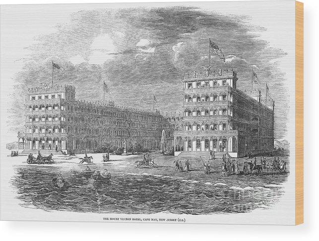 1853 Wood Print featuring the photograph New Jersey Hotel, 1853 by Granger