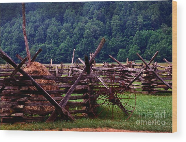 Hay Wood Print featuring the photograph Old Farm Hay Rake by Paul W Faust - Impressions of Light