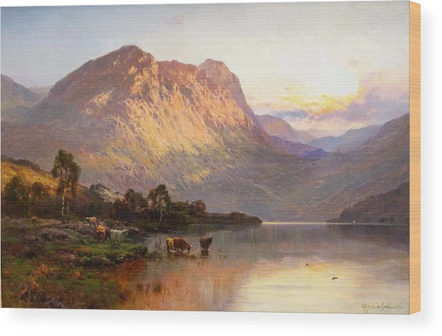 Alfred De Breanski Wood Print featuring the painting Loch Lomond And A Trout Stream by MotionAge Designs