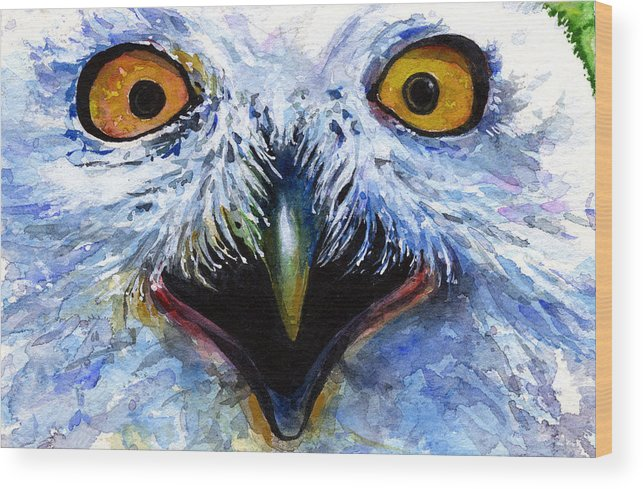 Eye Wood Print featuring the painting Eyes Of Owls No. 15 by John D Benson