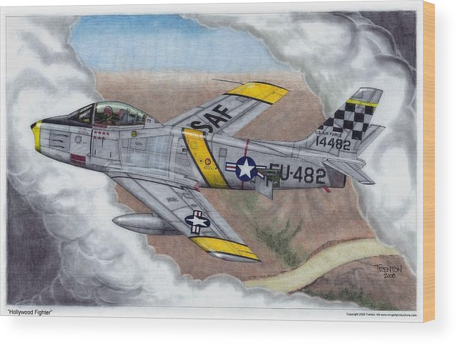 Aviation Wood Print featuring the drawing Hollywood Fighter by Trenton Hill