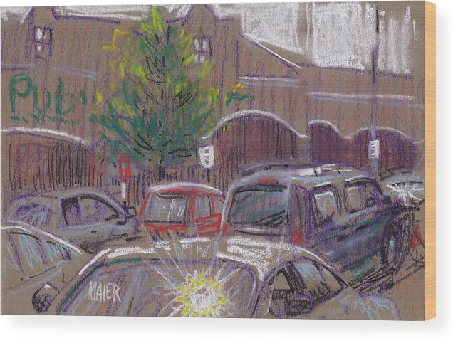 Conte Wood Print featuring the drawing Publix Parking by Donald Maier