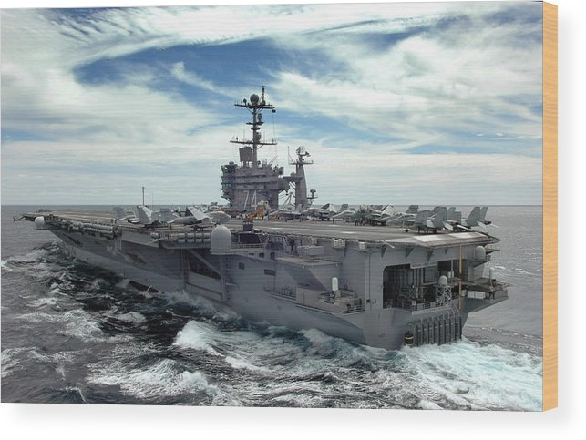 Horizontal Wood Print featuring the photograph The Nimitz-class Aircraft Carrier Uss by Stocktrek Images