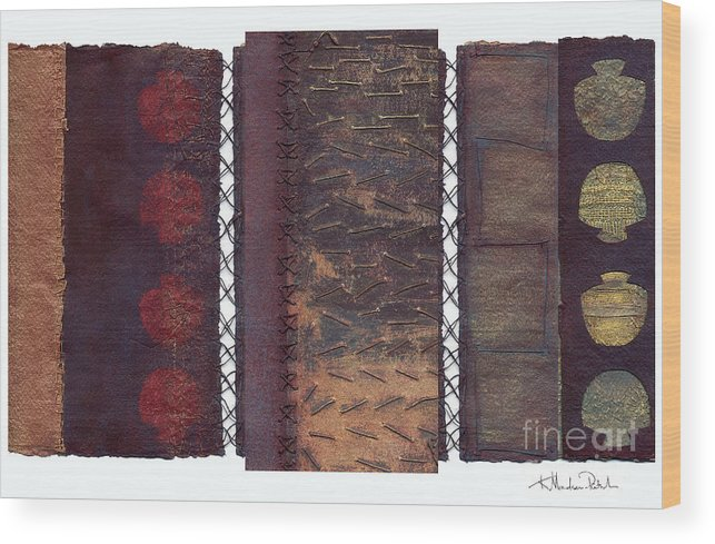 3panel Wood Print featuring the painting Three Panel Transitional Page Format by Kerryn Madsen- Pietsch
