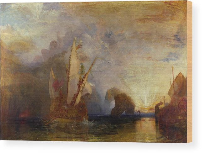 Boat Wood Print featuring the painting Ulysses Deriding Polyphemus by JMW Turner