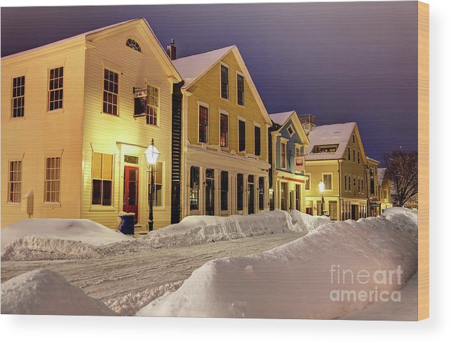 New Bedford Wood Print featuring the photograph Winter In Historic Downtown New Bedford by Denis Tangney Jr