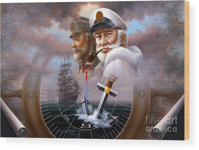 sea Captain Wood Print featuring the painting News Two Map Captain Or Two Sea Captain by Yoo Choong Yeul