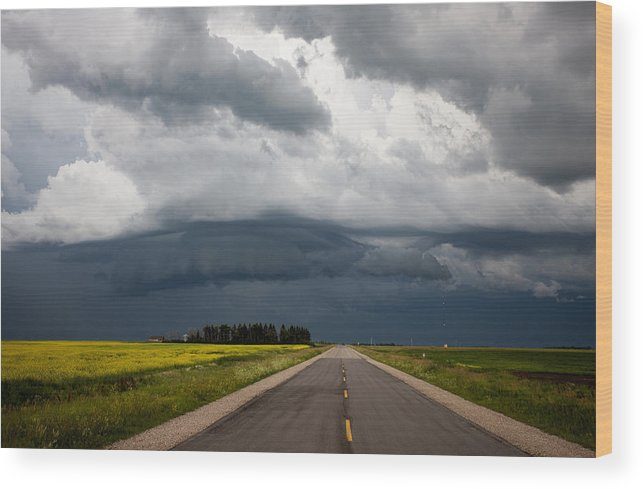 Landscape Wood Print featuring the photograph Storm Clouds Prairie Sky by Mark Duffy