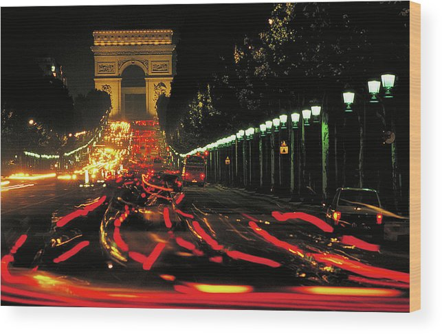 History Pride Triumph Patriotism Victory Military Force Cars Veh Wood Print featuring the photograph Champs Elysee At Night by Carl Purcell