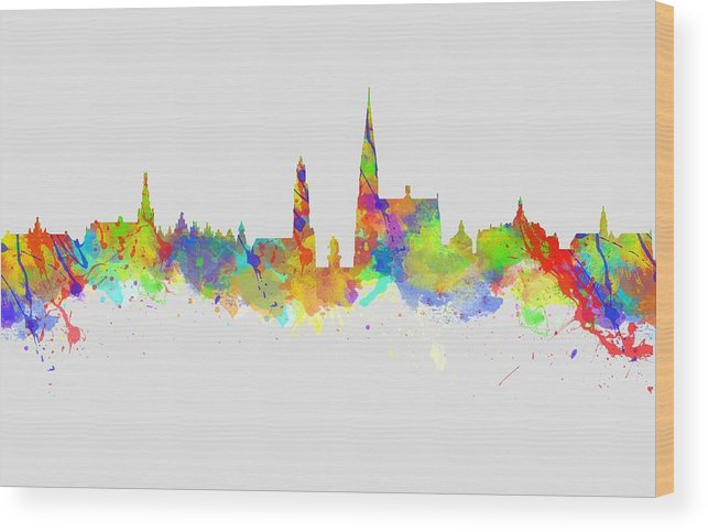 Antwerp Wood Print featuring the photograph Watercolor Art Print Of The Skyline Of Antwerp In Belgium by Chris Smith