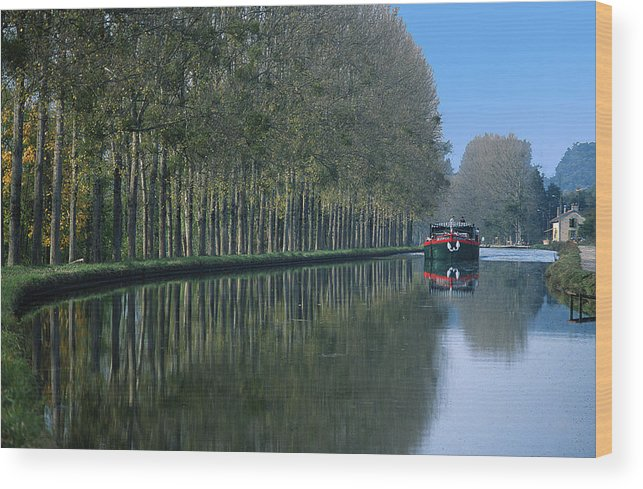 Trees Wood Print featuring the photograph Barge On Burgandy Canal by Carl Purcell