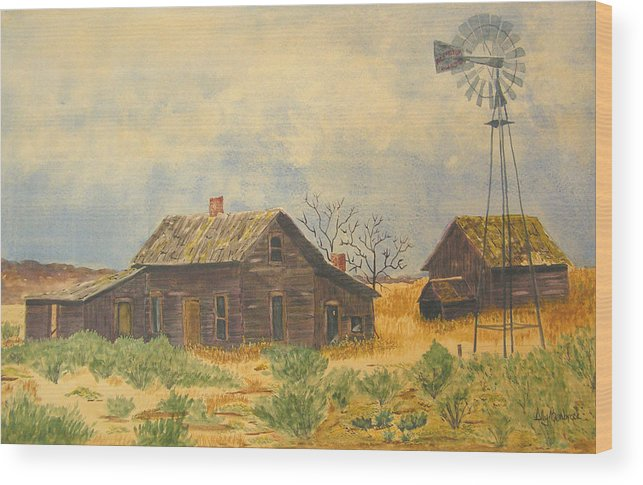 Farm Wood Print featuring the painting Abandoned Farm by Ally Benbrook