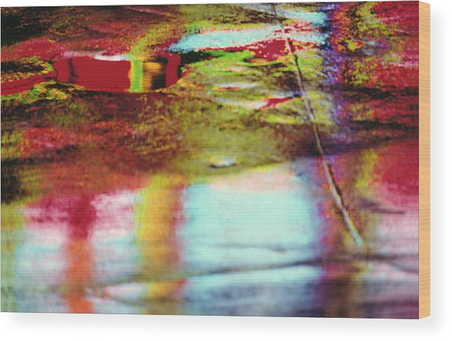Abstract Wood Print featuring the photograph After The Rain Abstract 2 by Tony Cordoza