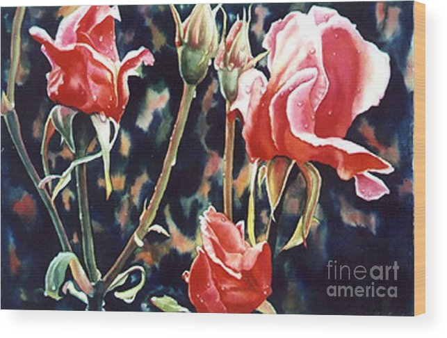 Roses Wood Print featuring the painting After The Rain by Gail Zavala