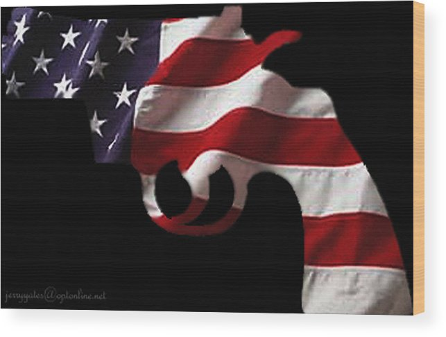America Wood Print featuring the photograph American Gun by Gerard Yates