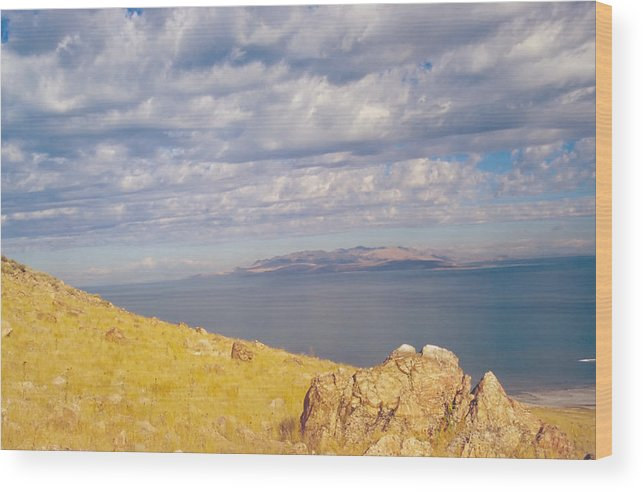 Great Salt Lake Wood Print featuring the photograph Antelope Island 3 by Steve Ohlsen