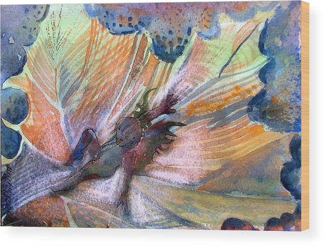 Fairy Wood Print featuring the painting Autumn Fairy by Mindy Newman