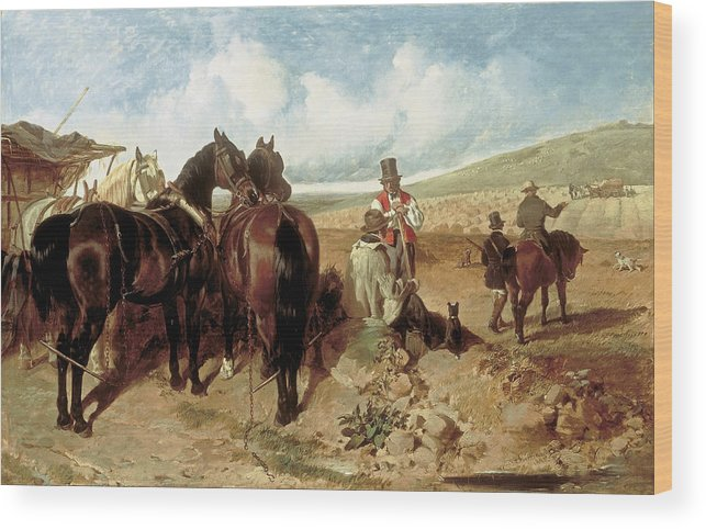Autumn. Painting Of Amato Winner Of The Derby Stakes Wood Print featuring the painting Autumn by John Frederick Herring