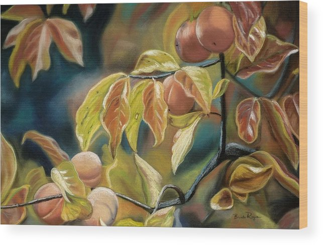 Autumn Wood Print featuring the painting Autumn Peaches by Brenda Williams