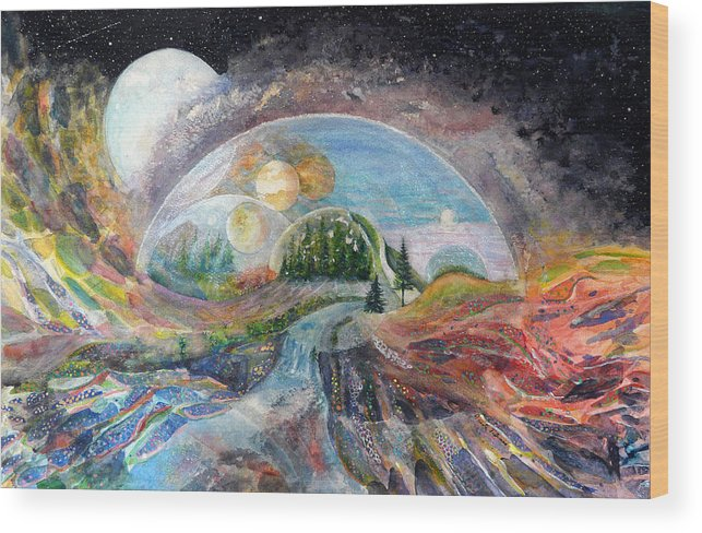 Fantasy Wood Print featuring the painting Avatron by Carole Overall