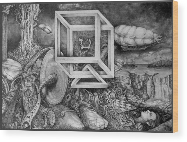 Drawing Wood Print featuring the drawing Axis Mundi by Otto Rapp