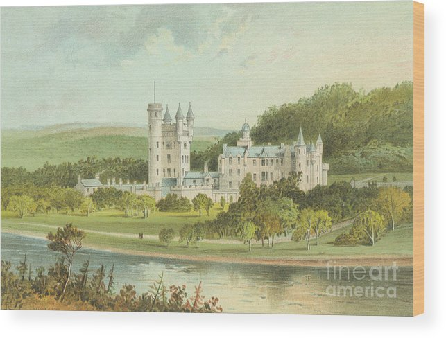 Balmoral Wood Print featuring the painting Balmoral Castle, Scotland by English School