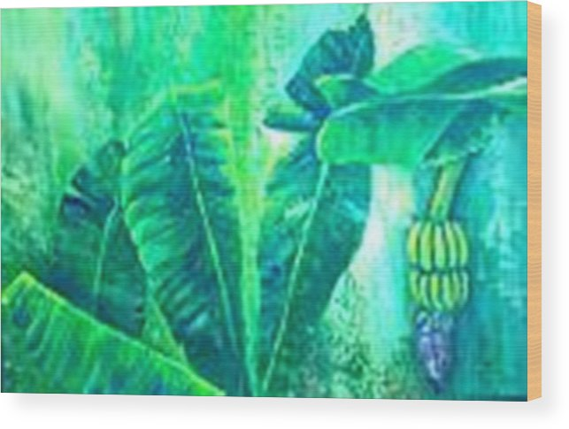 Wood Print featuring the painting Banan Leaves 5 by Carol P Kingsley