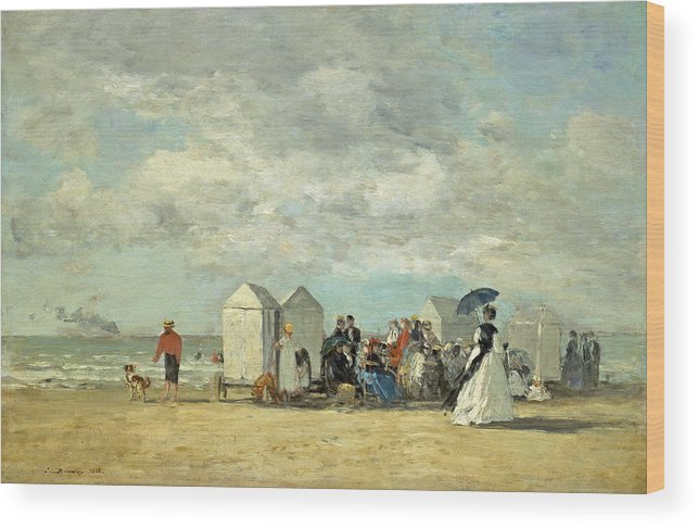 Art Wood Print featuring the painting Beach Scene by Eugene Boudin