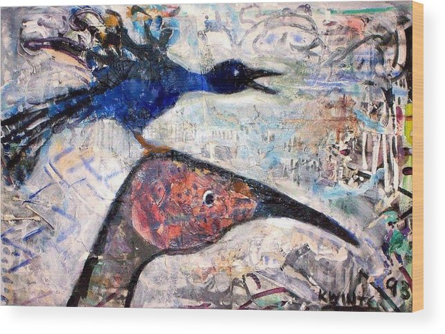 Birds Wood Print featuring the mixed media Bird On Bird by Dave Kwinter