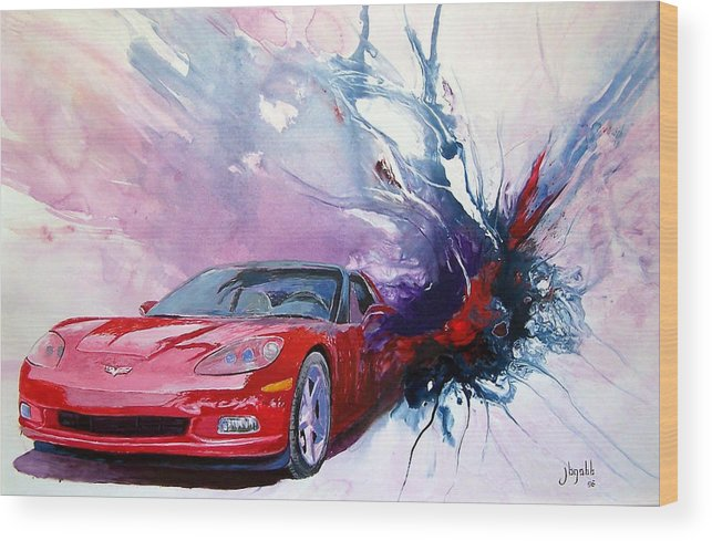 Red Corvette; C6; Wood Print featuring the painting Birth Of A Corvette by John Gabb
