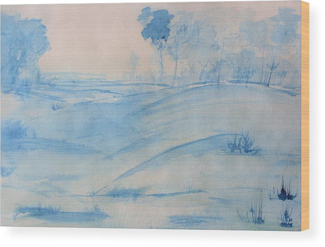 Landscape Wood Print featuring the painting Blue Day by Julie Lueders