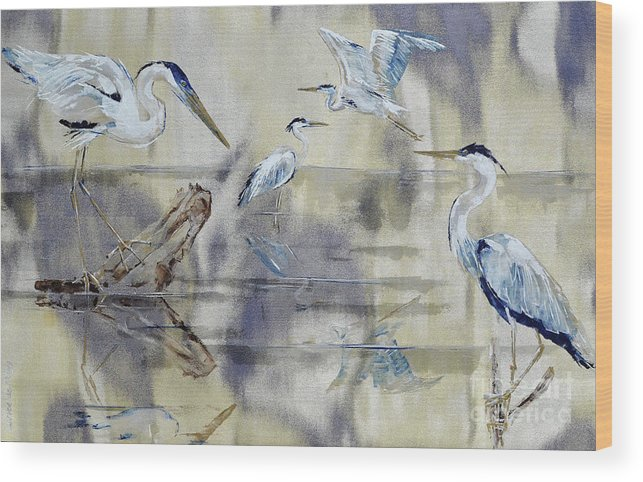 Heron Wood Print featuring the painting Great Blue Herons Chilling by Paola Correa de Albury