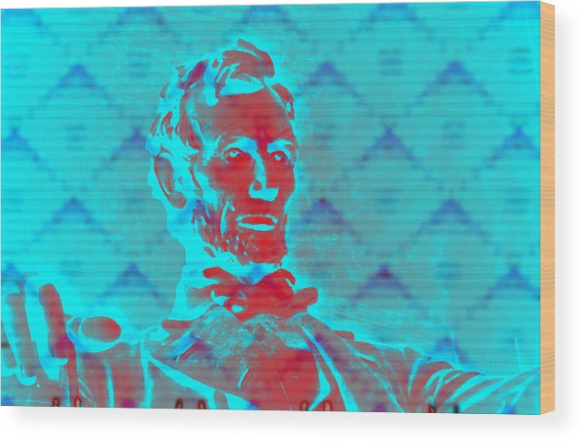 Lincolnmemorial Wood Print featuring the digital art Blue Lincoln by Richard Bragg